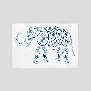 Blue Damask Elephant 4' x 6' Rug