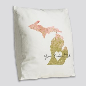 Personalized Michigan State Burlap Throw Pillow