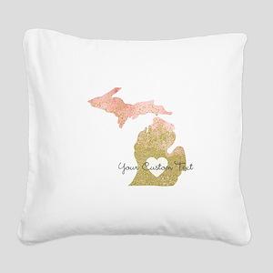 Personalized Michigan State Square Canvas Pillow