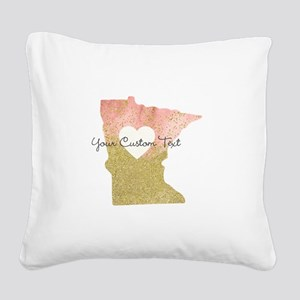 Personalized Minnesota State Square Canvas Pillow