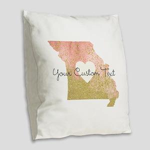 Personalized Missouri State Burlap Throw Pillow