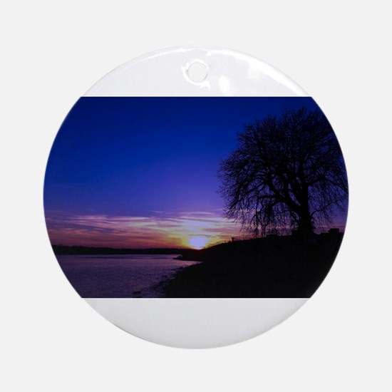 A Tree,a River, and a Sunset Round Ornament