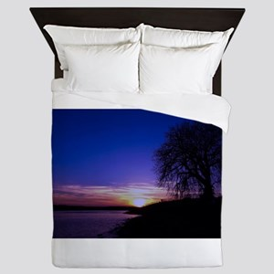 A Tree,a River, and a Sunset Queen Duvet