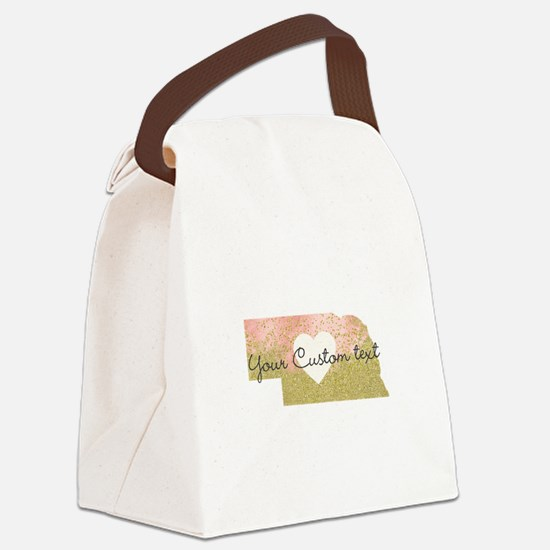 Personalized Nebraska State Canvas Lunch Bag