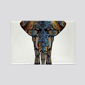 Blue & Brown Abstract Stencil Elephant Magnets