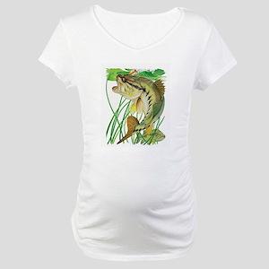 Largemouth Bass with Lily Pads Maternity T-Shirt