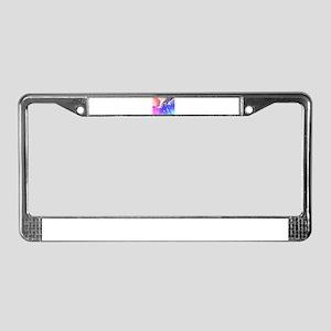Digital Rainbow Elephant License Plate Frame