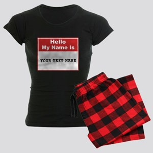 Custom Name Tag Women's Dark Pajamas