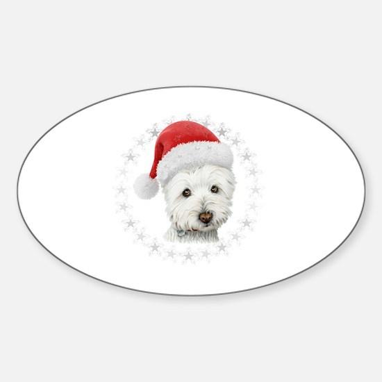 Cute Xmas terrier Sticker (Oval)