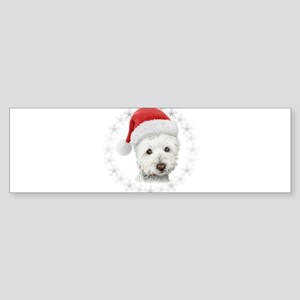 Cute Christmas Westie Dog Art Bumper Sticker