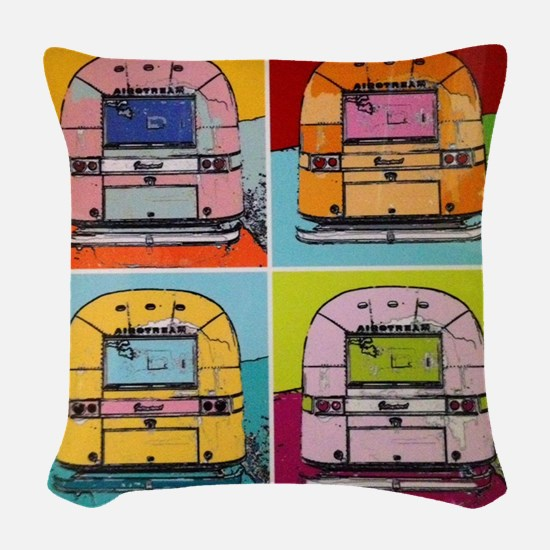 Airstream Pop Art painting Woven Throw Pillow