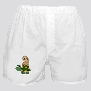 Funny Sloth on Turtle Boxer Shorts