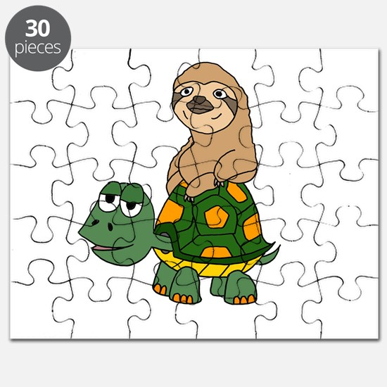 Funny Sloth on Turtle Puzzle