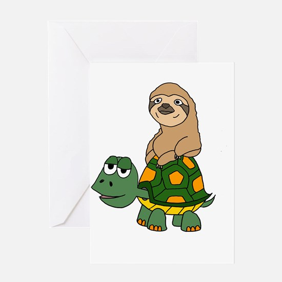 Funny Sloth on Turtle Greeting Cards