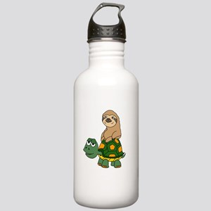 Funny Sloth on Turtle Stainless Water Bottle 1.0L