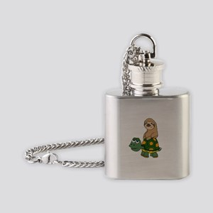 Funny Sloth on Turtle Flask Necklace