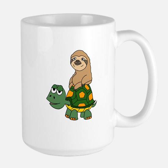Funny Sloth on Turtle Mugs