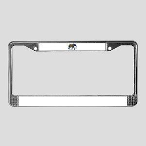 Blue Tribal Metallic Elephant License Plate Frame