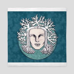 Winter Frost Goddess Blue Queen Duvet