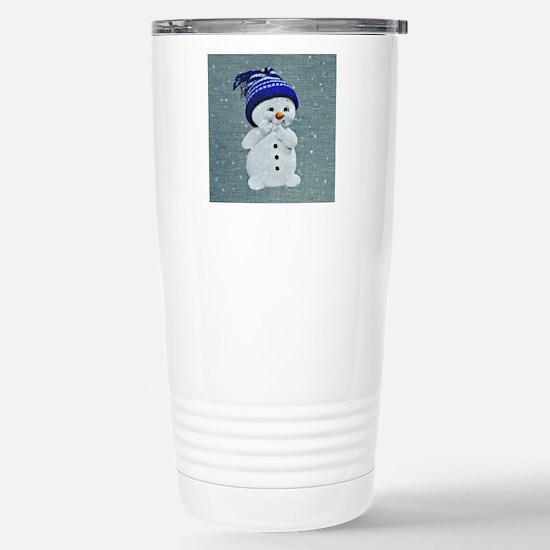 Cute Snowman on Light B Stainless Steel Travel Mug
