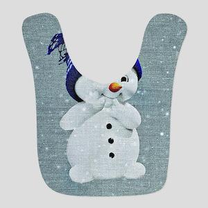 Cute Snowman on Light Blue Polyester Baby Bib