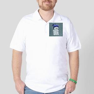 Cute Snowman on Light Blue Golf Shirt