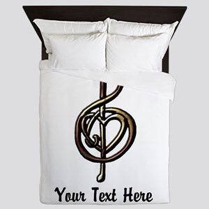 Music Treble Clef Embossed Look Custom Queen Duvet