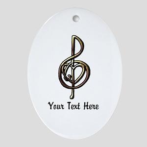 Music Treble Clef Embossed Look Cust Oval Ornament