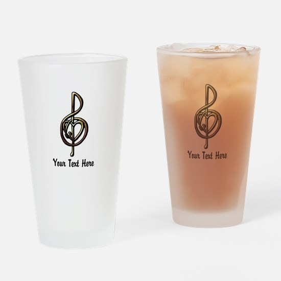 Treble Clef and Heart To Personaliz Drinking Glass