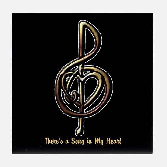 Customized Music Treble Clef and Hear Tile Coaster