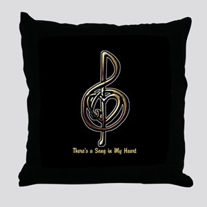 Customized Music Treble Clef and Hear Throw Pillow