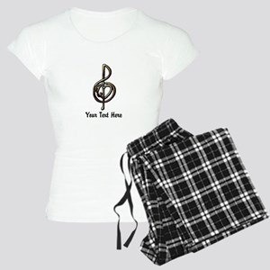 Music Treble Clef Embossed Women's Light Pajamas