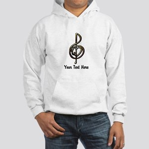 Music Treble Clef Embossed Look Hooded Sweatshirt