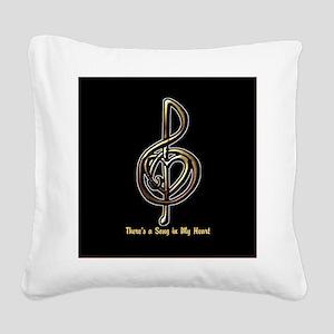Metallic Music Treble Clef an Square Canvas Pillow