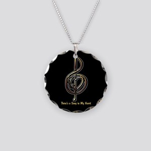 Metallic Music Treble Clef a Necklace Circle Charm