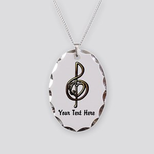Music Treble Clef Embossed Loo Necklace Oval Charm