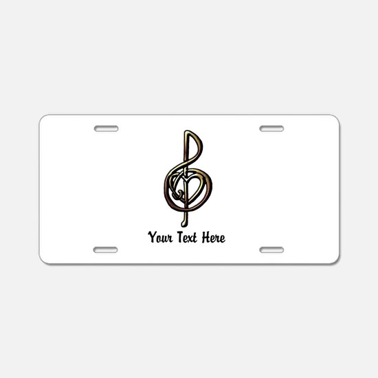 Treble Clef and Heart To Pe Aluminum License Plate