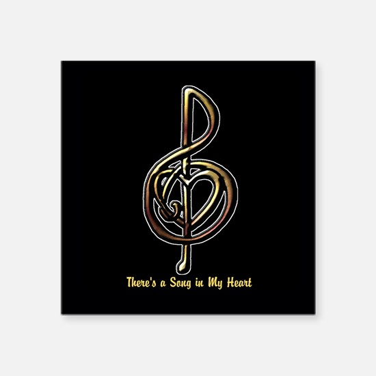 "Customized Music Treble Cle Square Sticker 3"" x 3"""