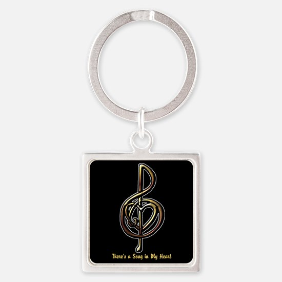 Customized Music Treble Clef and H Square Keychain