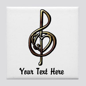 Music Treble Clef Embossed Look Custo Tile Coaster