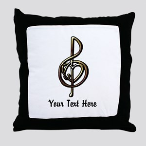 Music Treble Clef Embossed Look Custo Throw Pillow