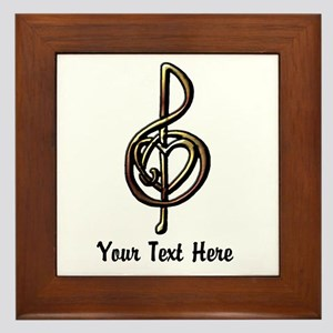 Treble Clef and Heart To Personalize f Framed Tile