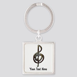 Music Treble Clef Embossed Look Cu Square Keychain