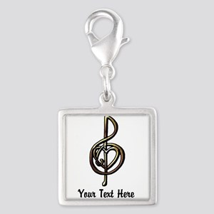 Music Treble Clef Embossed Lo Silver Square Charm