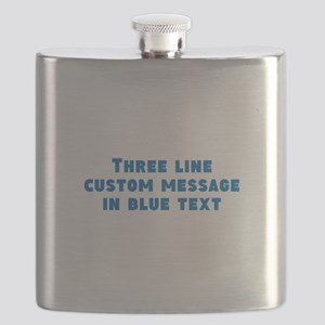 Three Line Blue Custom Message Flask