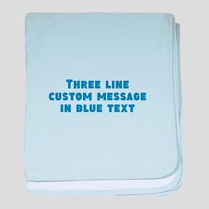 Three Line Blue Custom Message baby blanket