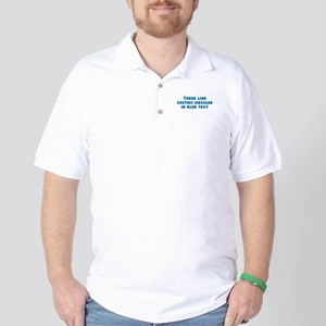 Three Line Blue Custom Message Golf Shirt