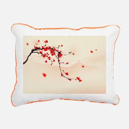 ASIAN TREE BRANCH Rectangular Canvas Pillow