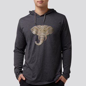 Silver Metallic Elephant Head Long Sleeve T-Shirt