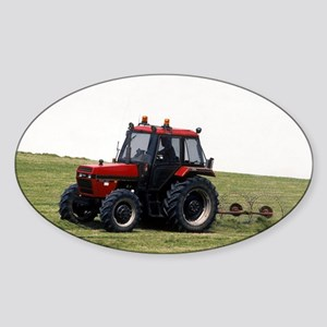 A Red Tractor On The Go Oval Sticker